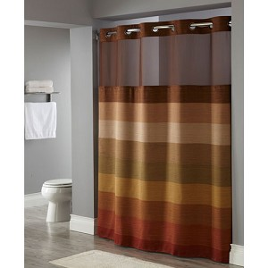 Hookless Stratus Polyester Shower Curtain W It S A Snap Replaceable Liner 71x77 Brown Multi