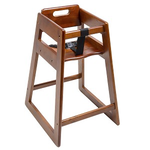 CSL Deluxe Rubber Wood Highchair Dark Brown