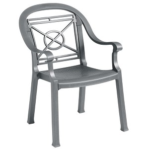 Grosfillex Victoria Classic Stacking Armchair Charcoal 12 Per Case