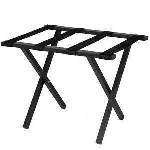 Hospitality 1 Source Metropolitan Powder Coat Luggage Rack w/ Black Straps Black Finish 4 Per Case Price Per Each