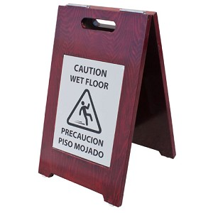 "Pressto Valet ""Caution Wet Floor"" Billingual Sign Walnut Finish/Nickel Plate 2 Per Case Price Per Each"