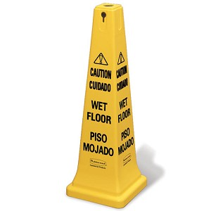 "Rubbermaid Commercial 627677 Safety Cone w/ Multi-Lingual ""Caution Wet Floor"" Imprint"