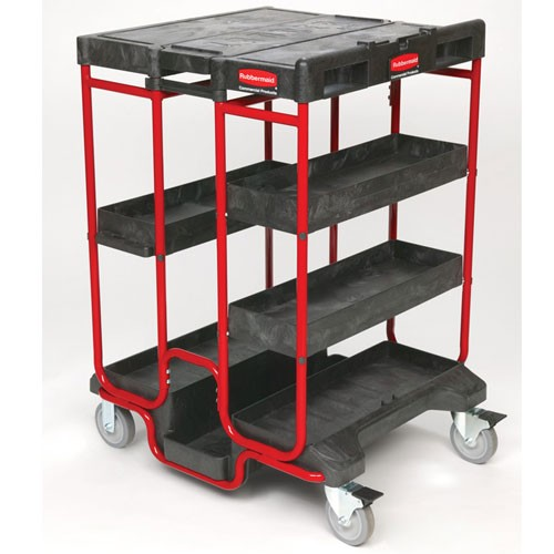 Rubbermaid Commercial 9t57bla Ladder Cart Black Red