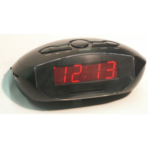 "Sonnet R-1634 0.9"" LED Alarm Clock Radio w/ 2 USB Plugs Black 20 Per Case Price Per Each"