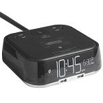Brandstand CubieTrio Alarm Clock w/ Qi Wireless Charging 2 USB Ports & 2 Power Outlets Black 16 Per Case Price Per Each