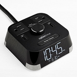 Brandstand CubieTime Alarm Clock w/ 2 USB Ports & 2 Power Outlets Black 18  Per Case Price Per Each