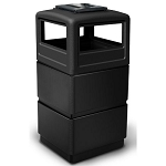 38-Gallon 3-Tier Block-Style Waste Container with Ashtray Dome Lid