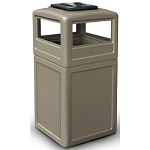 42-Gallon Square Waste Containers with Ashtray Dome Lid