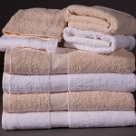 Cotton Craft Titan Cam Border Bath Towels 24x50 100% Cotton Ring Spun Terry Pile White or Beige 10.5Lbs/Dz 5 Dz Per Case Price Per Dz