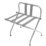 CSL High Back Series Back Webbing Metal Luggage Rack w/ Silver Straps Chrome 6 Per Case Price Per Each