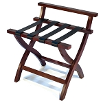 CSL Premier Series High Back Wood Luggage Rack w/ Black Straps Mahogany 3 Per Case Price Per Each