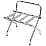 CSL High Back Series Wall Guard Metal Luggage Rack w/ Silver Straps Chrome 6 Per Case Price Per Each
