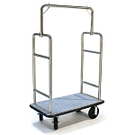 CSL Deluxe Heavy Duty Stainless Steel Bellman's Cart w/ Squared Top 1-1/2