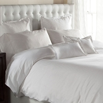 Downlite T-200 Woven Pinstripe Duvet Covers Queen 90x95 55/45 Cotton Poly Blend White 4 Per Case Price Per Each