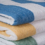 Ganesh Oxford Cabana 2x2 Stripe Pool Towels 30x60 100% Cotton Vat Dyed 2 Ply Ringspun 9Lb/Dz 3 Dz Per Case Price Per Dz