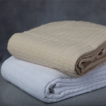 Ganesh Oxford Jaipur Big Honeycomb Thermal Blanket Twin 66x90 100% Cotton White or Beige 6 Per Case Price Per Each