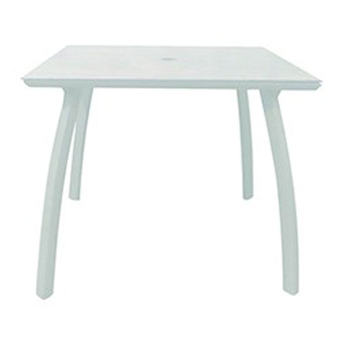 Grosfillex 36 Sunset Square Table W Umbrella Hole White Glacier