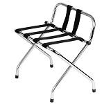 Hospitality 1 Source Chrome Finish Luggage Rack w/ Back & Black Straps 4 Per Case Price Per Each
