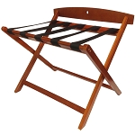 Hospitality 1 Source Contemporary Wooden Luggage Rack w/ Backrest Light Mahogany Finish 2 Per Case Price Per Each