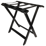 Hospitality 1 Source Tall Wooden Luggage Rack w/ Black Straps Espresso Finish 4 Per Case Price Per Each