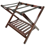 Hospitality 1 Source Deluxe Wood Luggage Rack w/ Shoe Shelf Walnut Finish 4 Per Case Price Per Each