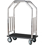 "Hospitality 1 Source Estate Series Bellman's Cart w/ 8"" Fully Pneumatic Wheels Stainless Steel"