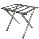 Hospitality 1 Source Metropolitan Powder Coat Luggage Rack w/ Gray Straps Brushed Stainless Steel Finish 4 Per Case Price Per Each