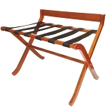 Hospitality 1 Source Extra-Wide Deluxe Wood Luggage Rack w/ Black Straps Light Mahogany Finish 2 Per Case Price Per Each