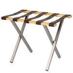 Hospitality 1 Source Uptown Luggage Rack w/ Brown Straps Natural Finish 4 Per Case Price Per Each