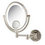 Jerdon HL9515N Oval Lighted Wall Mount Mirrors 1X-10X Magnification w/ 15X Spot Nickel 4 Per Case Price Per Each