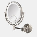 Jerdon HL9515NL Oval LED Lighted Wall Mount Mirrors 1X-10X-15X Magnification Nickel 4 Per Case Price Per Each