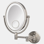 Jerdon HL9515NLD Oval LED Lighted Wall Mount Mirrors 1X-10X-15X Magnification Direct Wire Nickel 4 Per Case Price Per Each