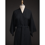 Telegraph Hill Seersucker Kimono Bathrobe 100% Microfiber Black 6 Per Case Price Per Each