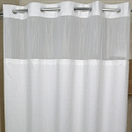 Kartri Hang2It Millennium Polyester Shower Curtain w/ Window & Snap Away Liner 72x77 White w/ White Buckles 12 Per Case Price Per Each