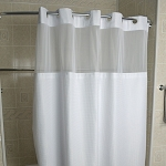 Kartri Hang2It Empire Waffle Polyester Shower Curtain w/ Window & Snap Away Liner 72x77 White w/ White Buckles 12 Per Case Price Per Each