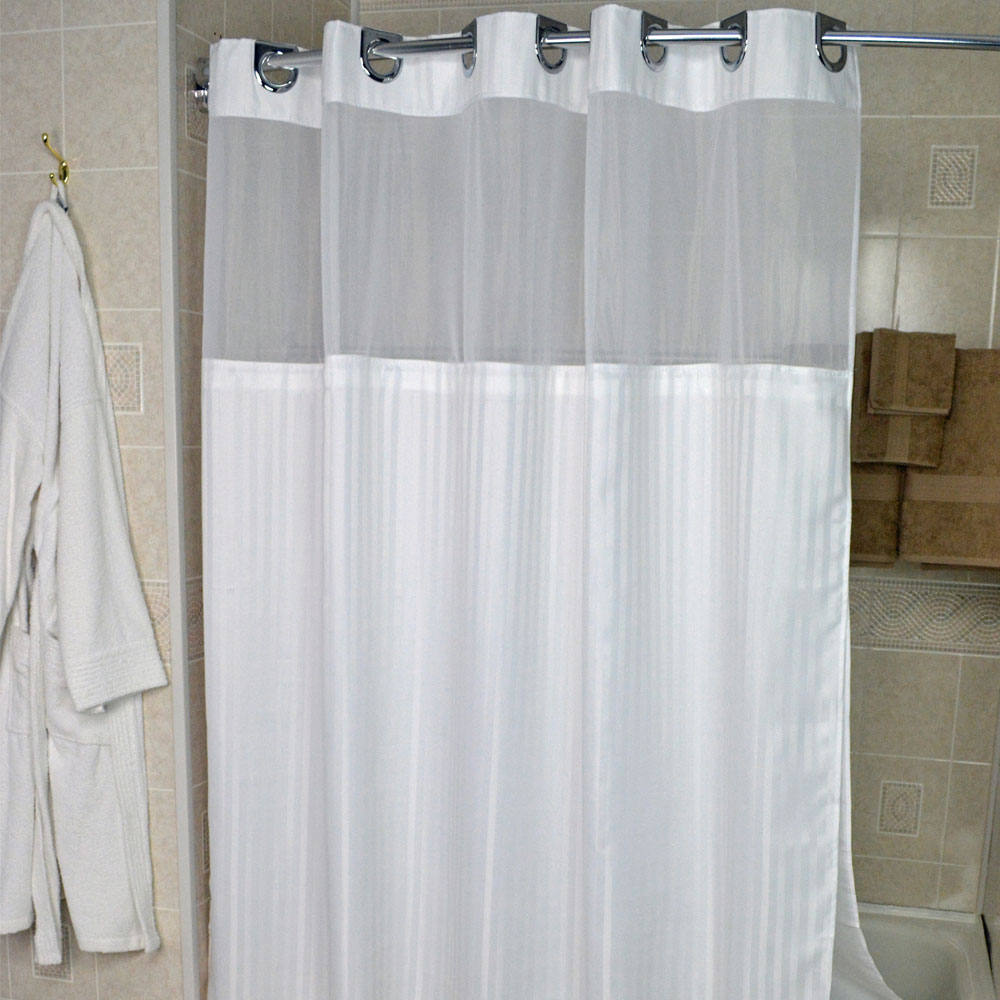 Kartri Ezy Hang Herringbone Polyester Shower Curtain W Window Snap Away Liner 72x74 White Chrome Buckles 12 Per Case Price Each