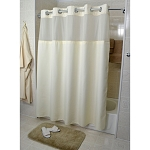 Kartri Hang2It Duo-Poly Shower Curtain w/ Window & Snap Away Liner 72x77 Beige w/ Chrome Buckles 12 Per Case Price Per Each