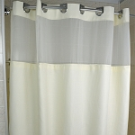 Kartri Hang2It Empire Waffle Polyester Shower Curtain w/ Window & Snap Away Liner 72x74 Beige w/ Chrome Buckles 12 Per Case Price Per Each