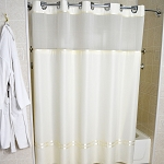 Kartri Hang2It Matt-Satin Polyester Shower Curtain w/ Window & Snap Away Liner 71x74 Beige w/ Beige Satin Trim & Chrome Buckles 12 Per Case Price Per Each