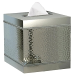 NuSteel Hudson Mirror & Hammered Boutique Tissue Box Cover 12 Per Case Price Per Each