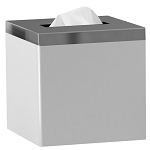 NuSteel Pure White Resin w/ Metal Trim Boutique Tissue Box Cover 24 Per Case Price Per Each