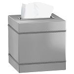 NuSteel Regal Crackle Glass w/ Chrome Trim Boutique Tissue Box Cover 12 Per Case Price Per Each