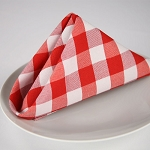 Red & White Woven Check 100% Spun Polyester Table Linens
