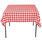 Red & White Woven Check 100% Spun Polyester Square Tablecloths
