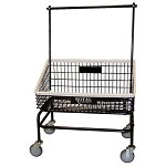 Royal Basket Tapered Front Basket Wire Laundry Cart w/ Double Hanger