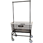 Royal Basket Large Basket Wire Laundry Cart w/ Double Hanger