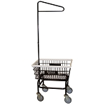 Royal Basket Small Basket Wire Laundry Cart w/ Single Hanger