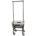 Royal Basket Small Basket Wire Laundry Cart w/ Double Hanger