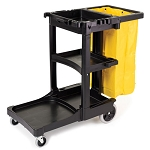 Rubbermaid Commercial 617388BK Cleaning Cart w/ Zipper Yellow Vinyl Bag