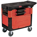 Rubbermaid Commercial 618088BLA Trades Cart w/ Locking Cabinet 2 Parts Boxes & 4 Parts Bins Black